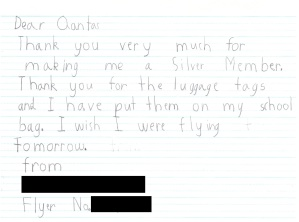 6 year olds letter to Qantas